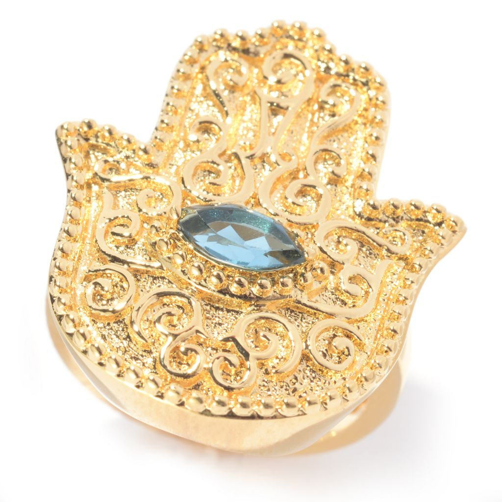 140-578 - Jaipur Bazaar 18K Gold Embraced™ London Blue Topaz Hamsa & Evil Eye Filigree Ring