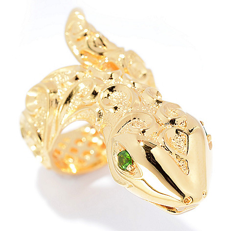 140-580 - Jaipur Bazaar 18K Gold Embraced™ Chrome Diopside Swirl Design Snake Ring