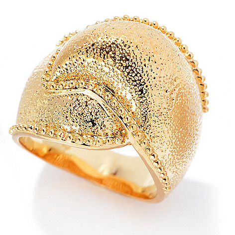 140-587 - Jaipur Jewelry Bazaar™ 18K Gold Embraced™ Textured & Beaded Edge Wave Ring