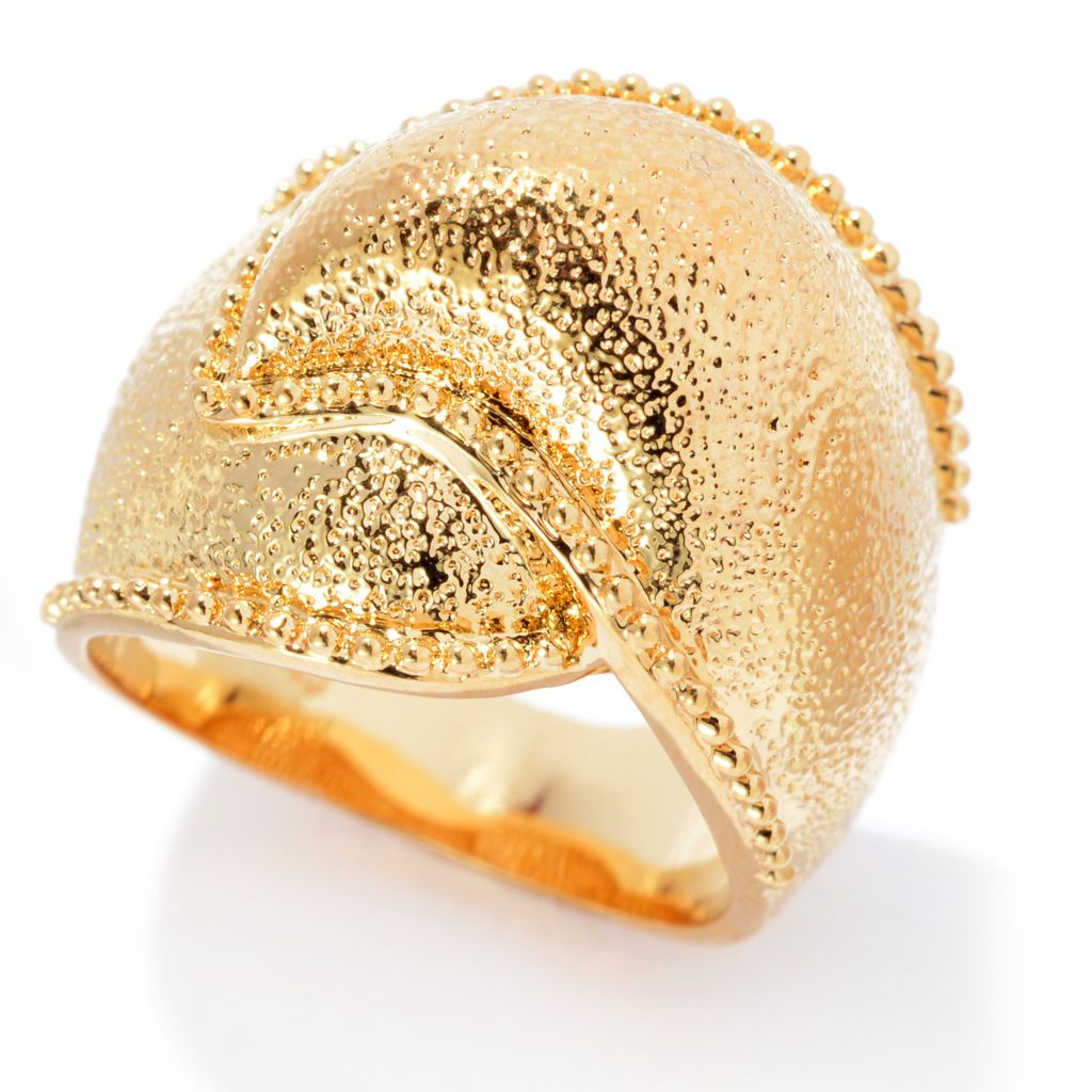 140-587 - Jaipur Bazaar 18K Gold Embraced™ Textured & Beaded Edge Wave Ring