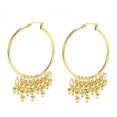 140-589 - Jaipur Bazaar 18K Gold Embraced™ 2.5'' Multi Layer Polished Bead Hoop Earrings