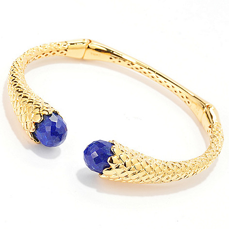 140-590 - Jaipur Jewelry Bazaar™ 18K Gold Embraced™ 7'' 10 x 8mm Lapis Lazuli Hinged Cuff Bracelet