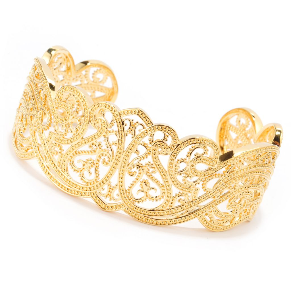 "140-591 - Jaipur Bazaar 18K Gold Embraced™ 7.5"" Polished & Ornate Beadwork Cuff Bracelet"