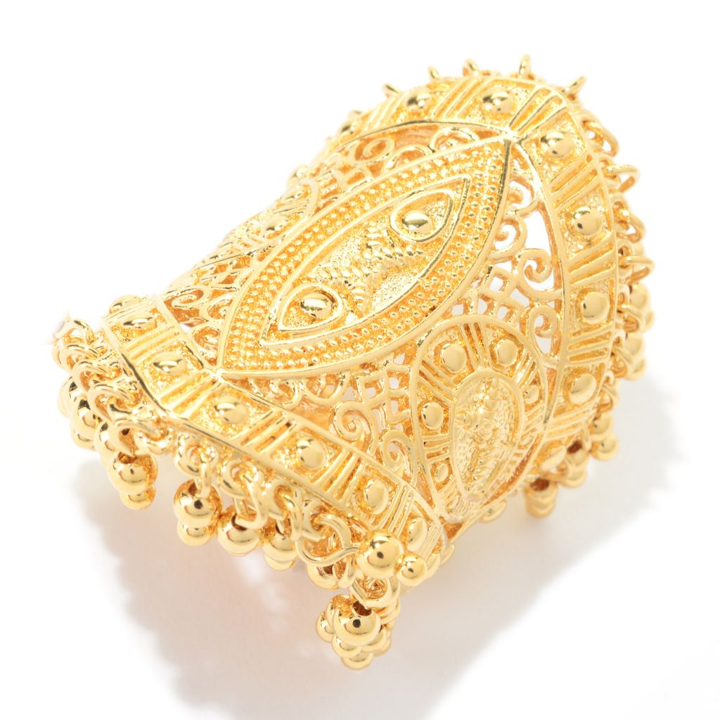 140-592 - Jaipur Bazaar 18K Gold Embraced™ Polished Filigree & Beaded Edge Elongated Ring