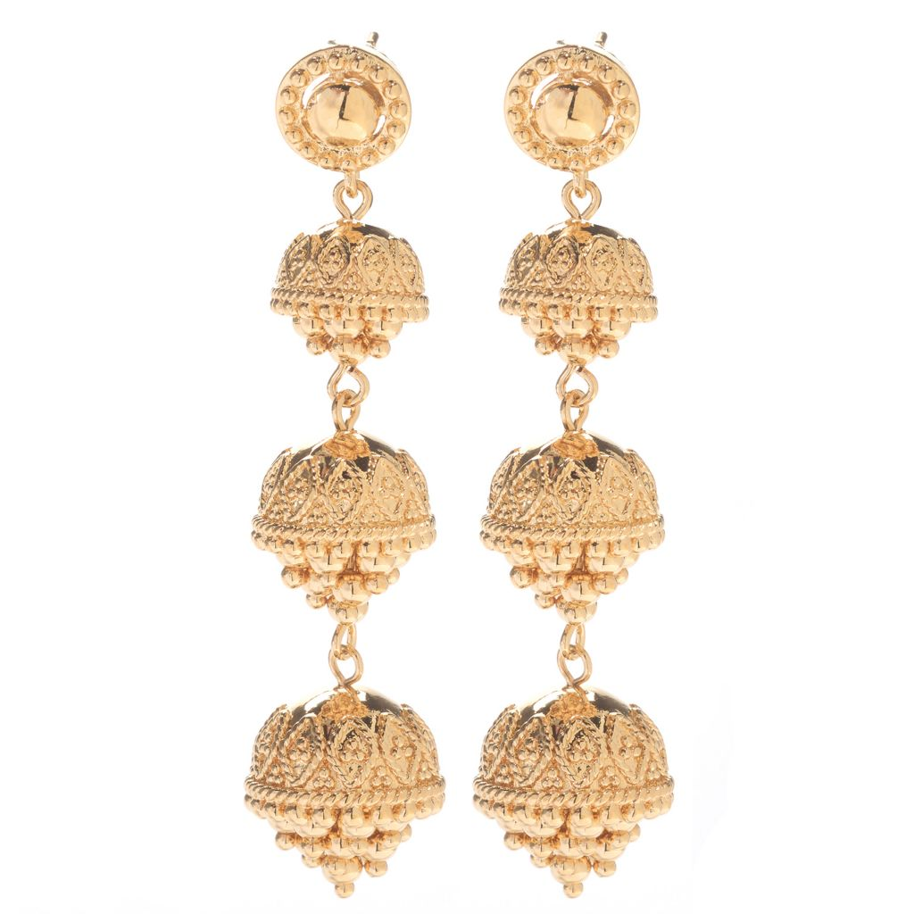 "140-593 - Jaipur Bazaar 18K Gold Embraced™ 2.25"" Beaded Three-Tier Drop Earrings"