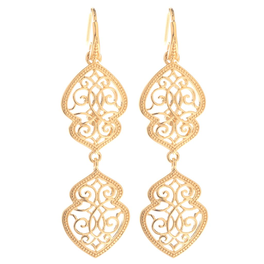 "140-594 - Jaipur Bazaar 18K Gold Embraced™ 2"" Filigree Double Drop Earrings"