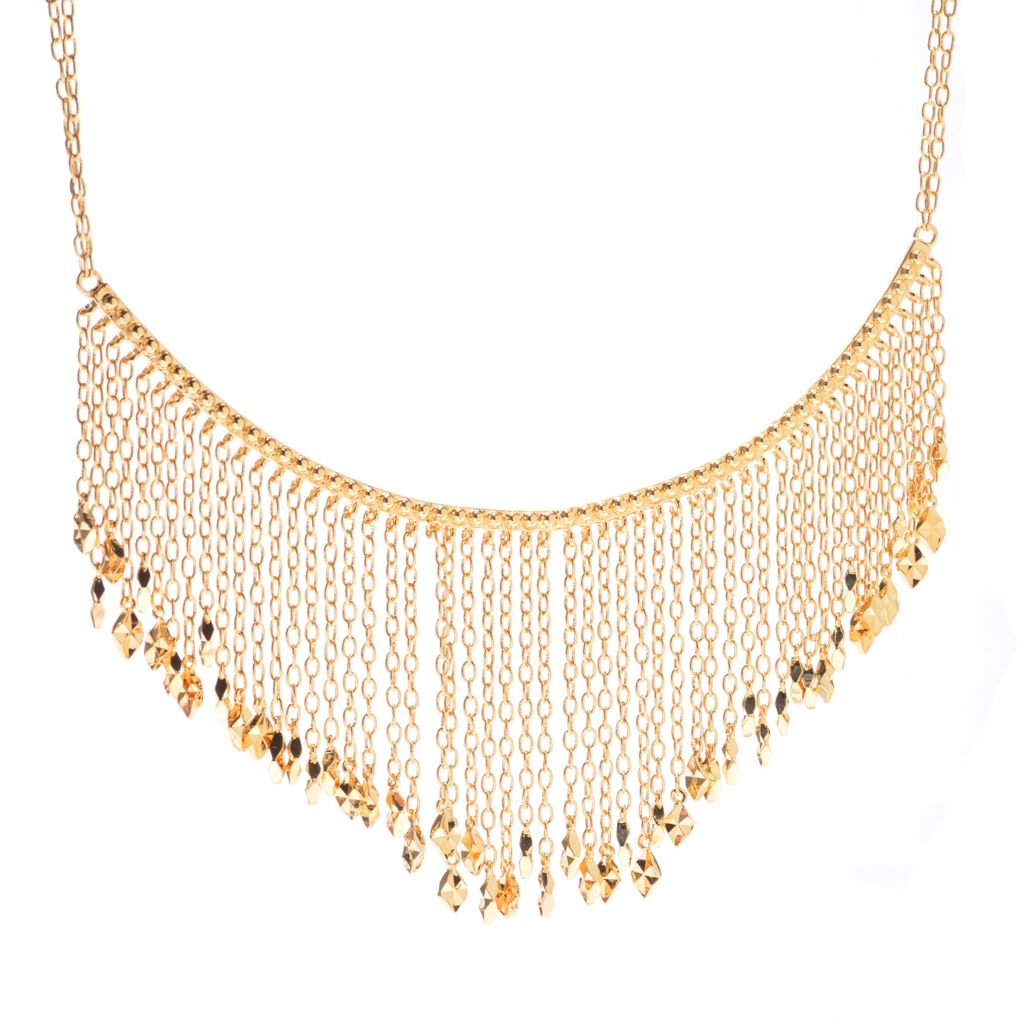 "140-597 - Jaipur Bazaar 18K Gold Embraced™ 18"" Beaded Fringe Necklace w/ 2"" Extender"
