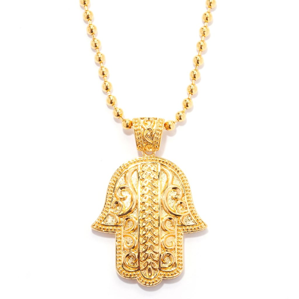 140-600 - Jaipur Bazaar 18K Gold Embraced™ Textured & Beaded Edge Hamsa Pendant w/ Chain
