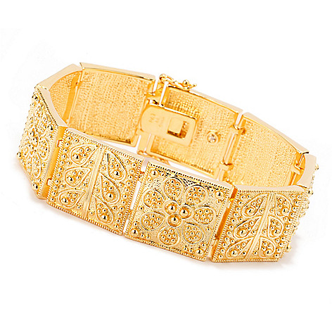 140-601 - Jaipur Jewelry Bazaar™ 18K Gold Embraced™ Ornate Beadwork Flower Panel Link Bracelet