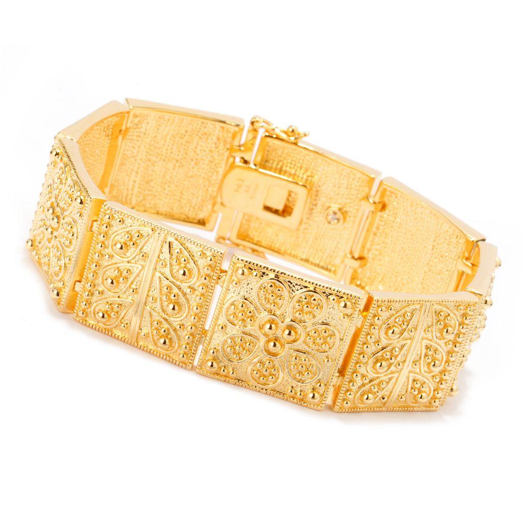 140-601 - Jaipur Bazaar 18K Gold Embraced™ Ornate Beadwork Flower Panel Link Bracelet