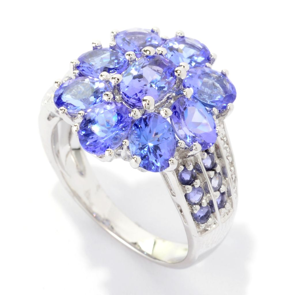 140-603 - NYC II 3.11ctw Oval Tanzanite, Iolite & Diamond Flower Ring