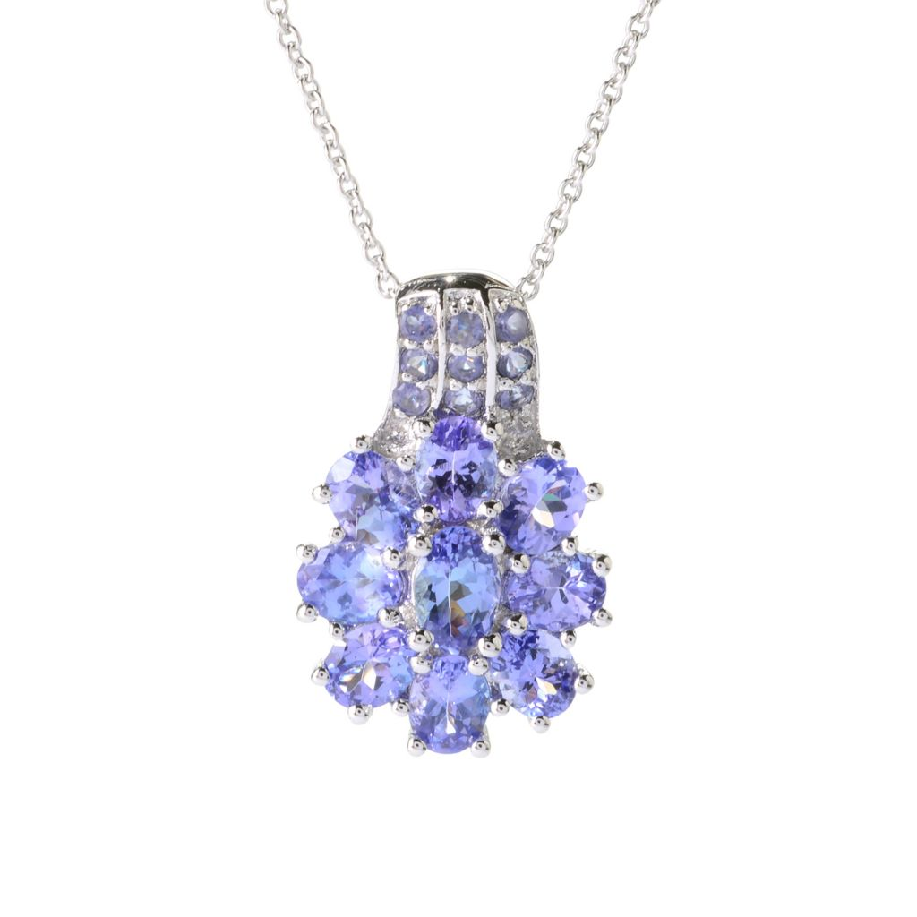 "140-604 - NYC II 3.65ctw Oval Tanzanite & Iolite Flower Pendant w/ 18"" Chain"