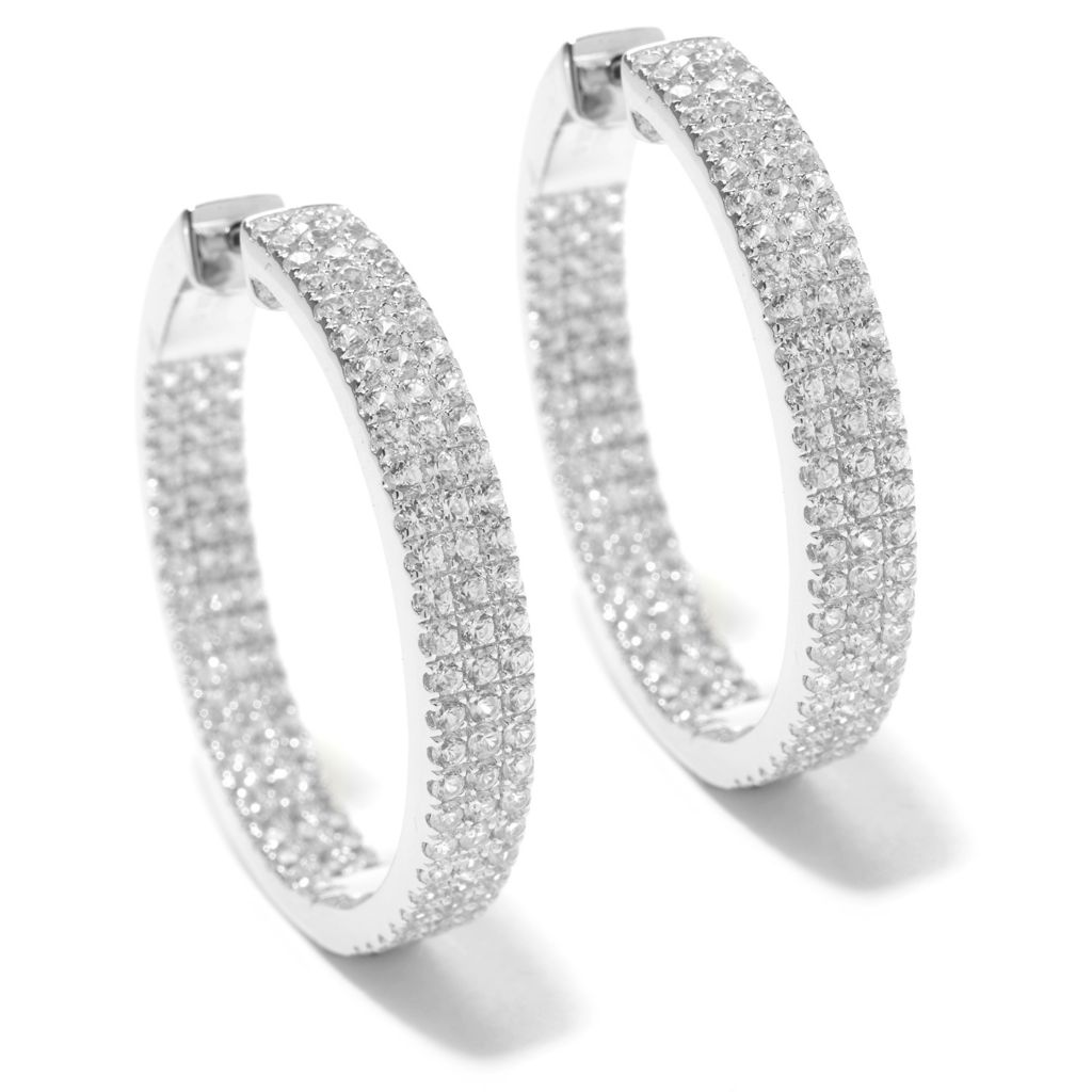 "140-605 - Gem Treasures Sterling Silver 1.25"" 5.94ctw White Zircon Hoop Earrings"