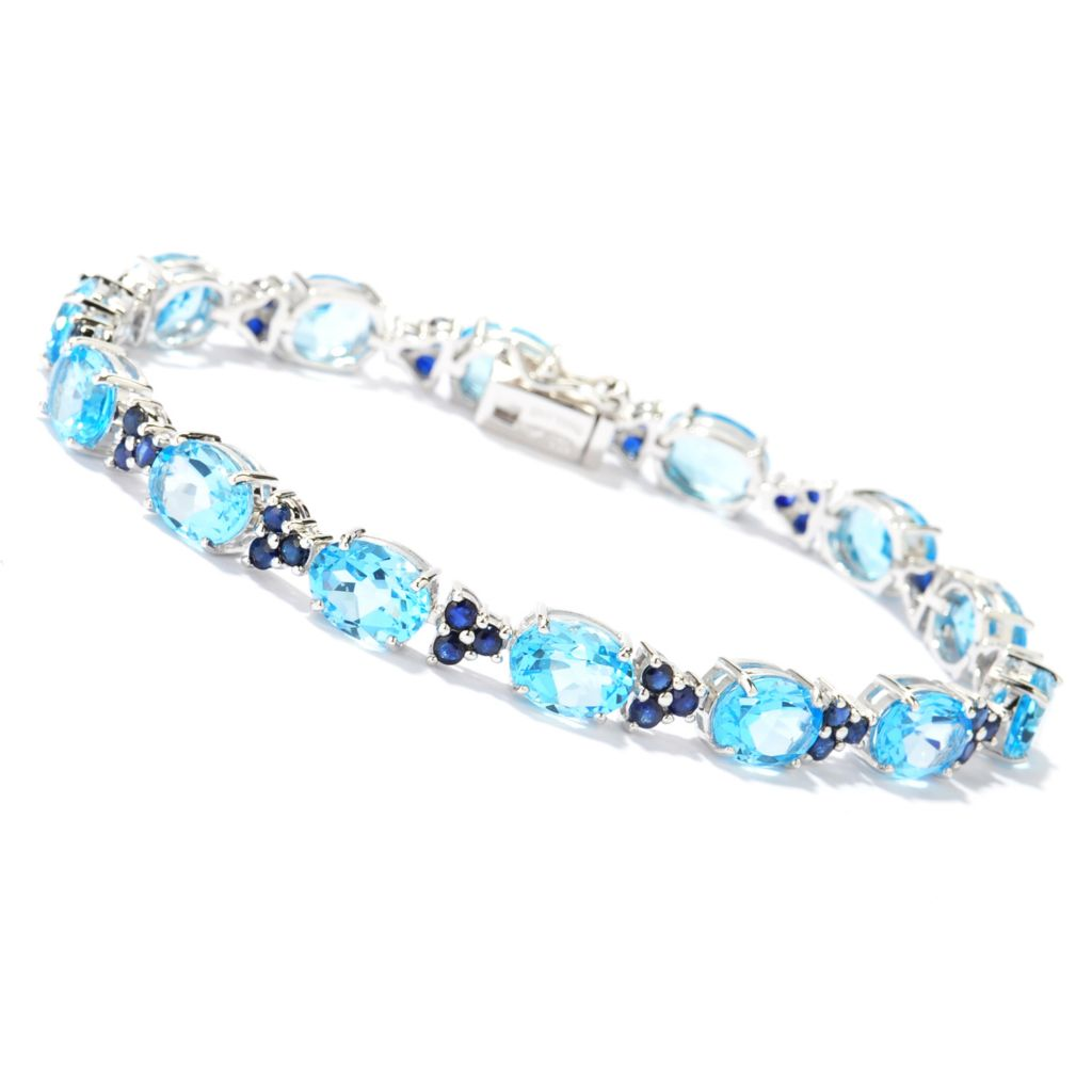 140-608 - Gem Treasures Sterling Silver Swiss Blue Topaz & Blue Sapphire Line Bracelet