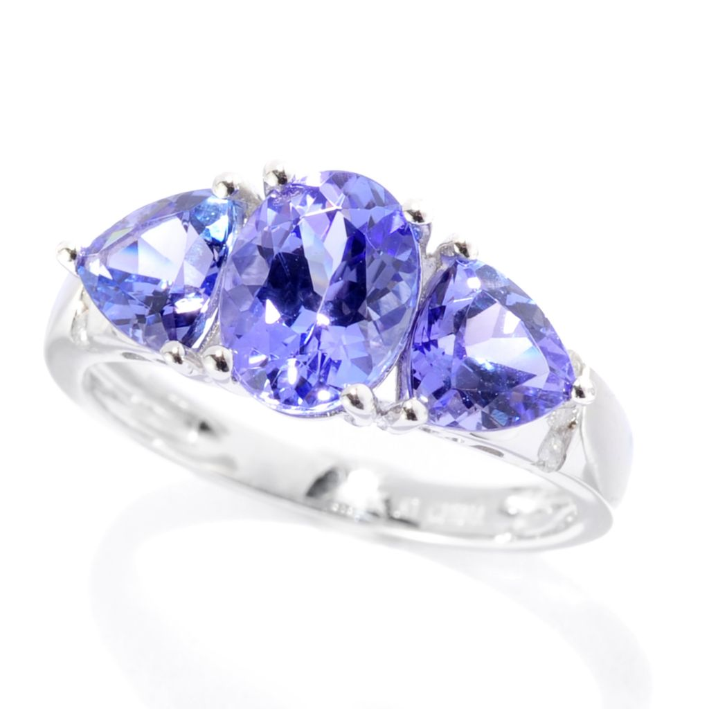 140-609 - Gem Treasures 14K White Gold 2.60ctw Tanzanite & Diamond Band Ring