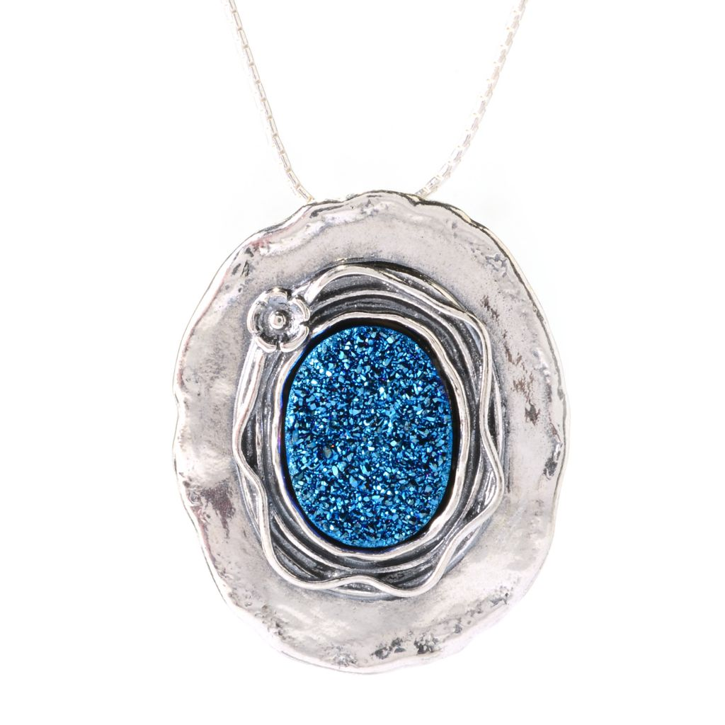 """140-610 - Passage to Israel Sterling Silver 18"""" 16 x 12mm Oval Drusy Drop Necklace"""