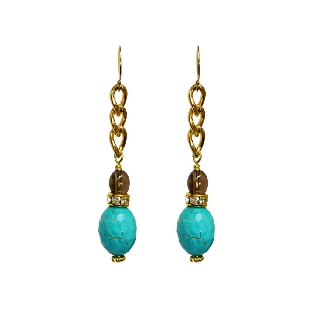 "140-628 - MINU Jewels 14K Gold Embraced™ 2"" ""Capri"" Turquoise, Crystal & Smoky Quartz Earrings"