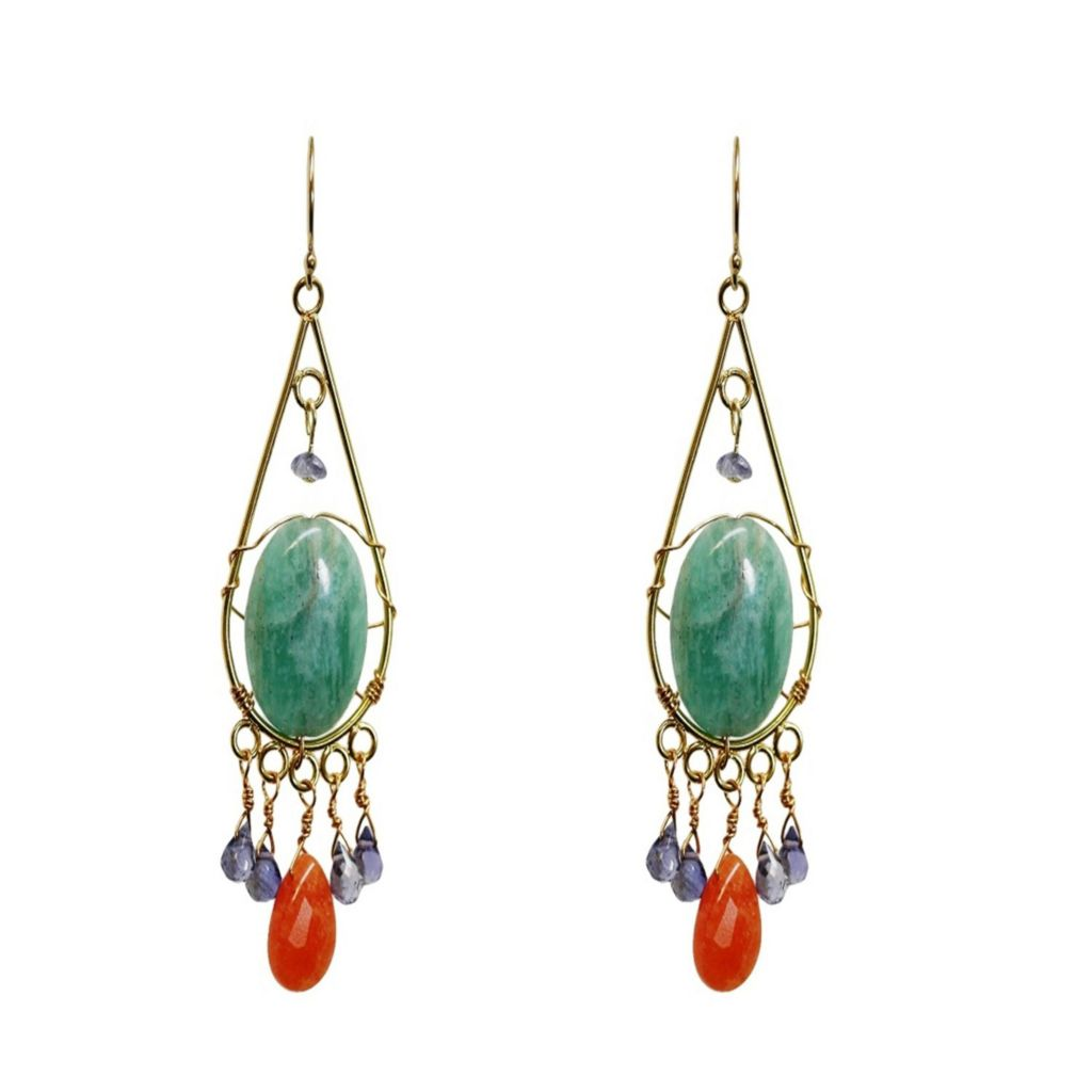 "140-631 - MINU Jewels 14K Gold Embraced™ 2.5"" ""Suli"" or ""Tuli"" Multi Gemstone Drop Earrings"