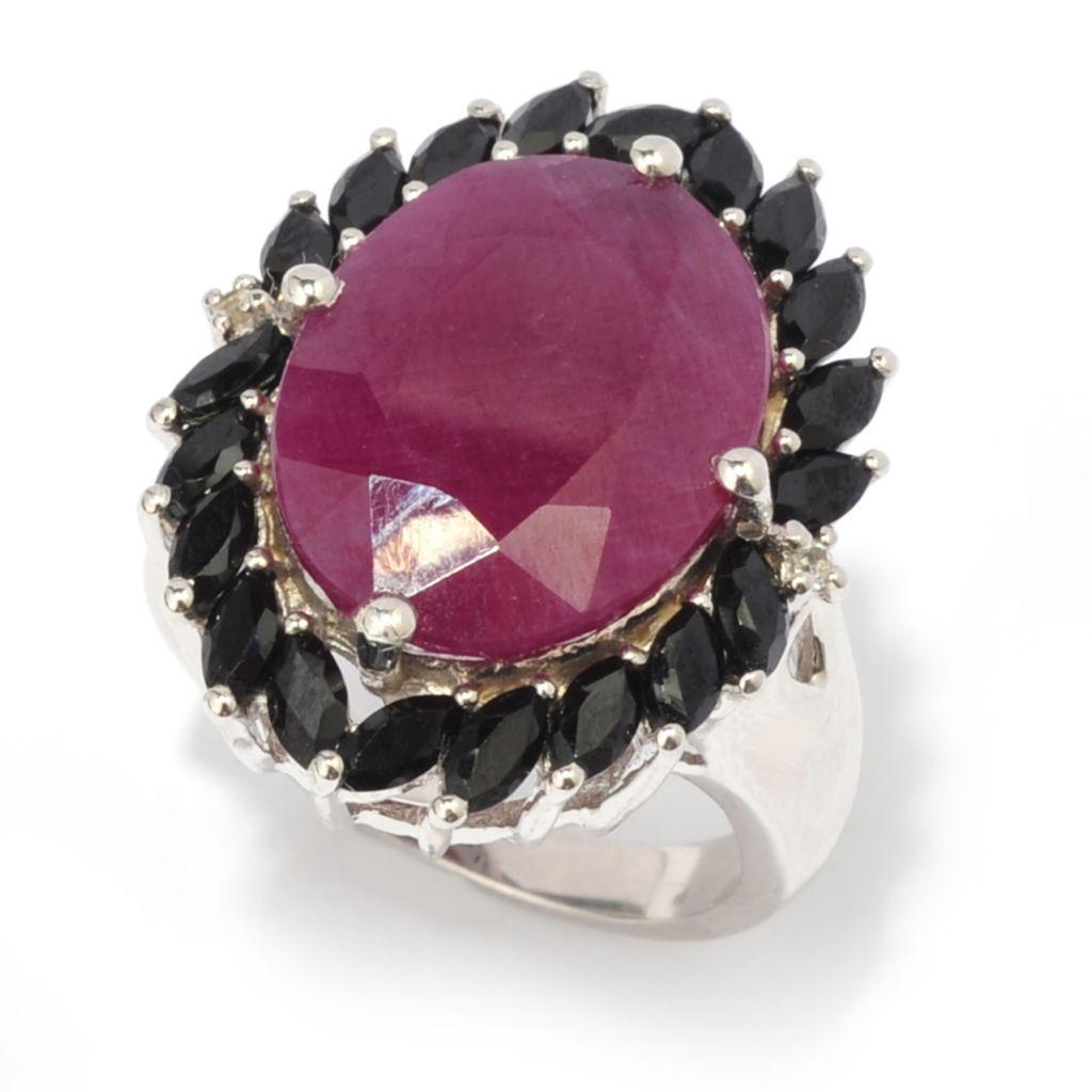 140-634 - Gem Treasures Sterling Silver 22 x 16mm Madurai Ruby, Black Spinel & White Topaz Ring