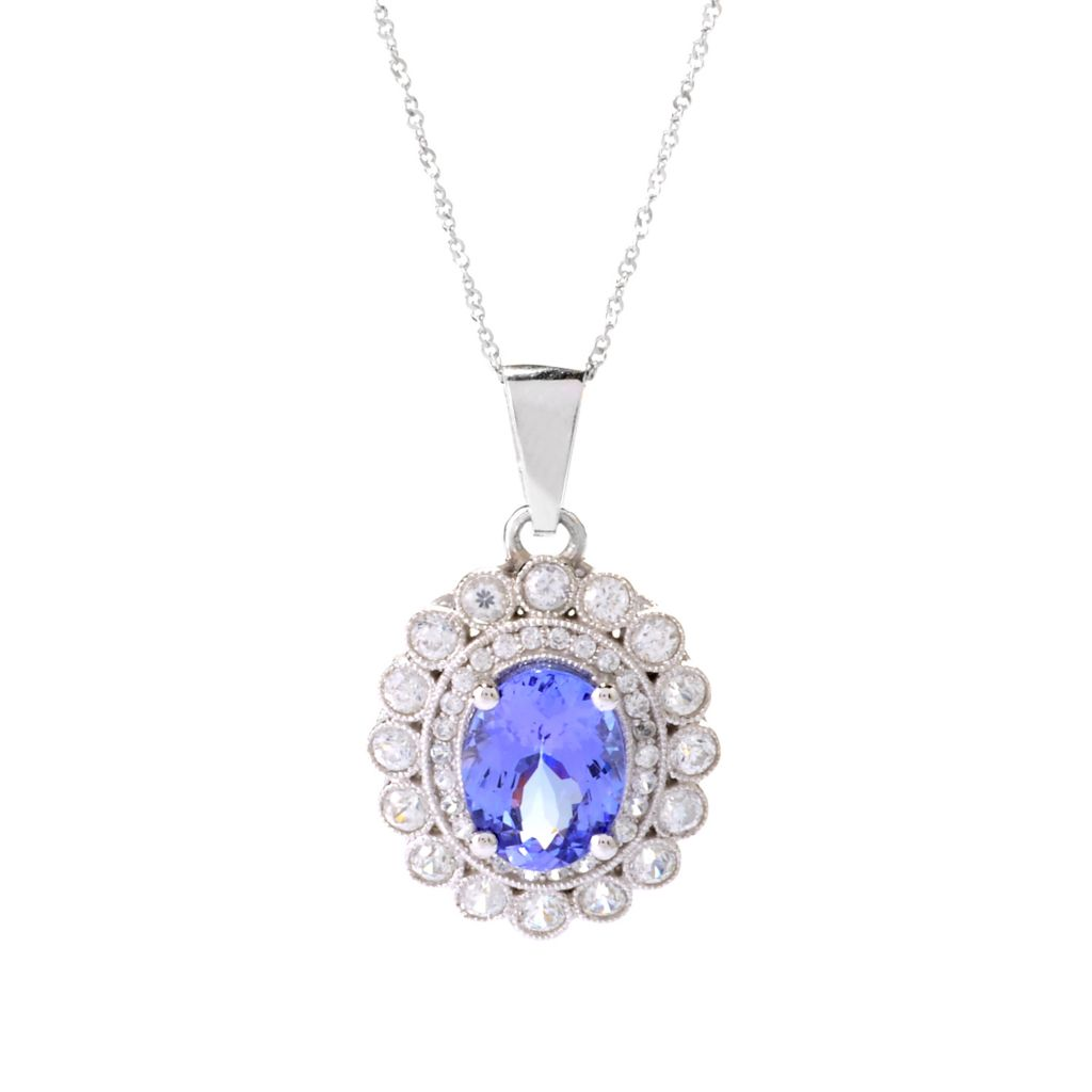 140-636 - Gem Treasures 14K White Gold 2.74ctw Tanzanite & White Zircon Pendant w/ Chain
