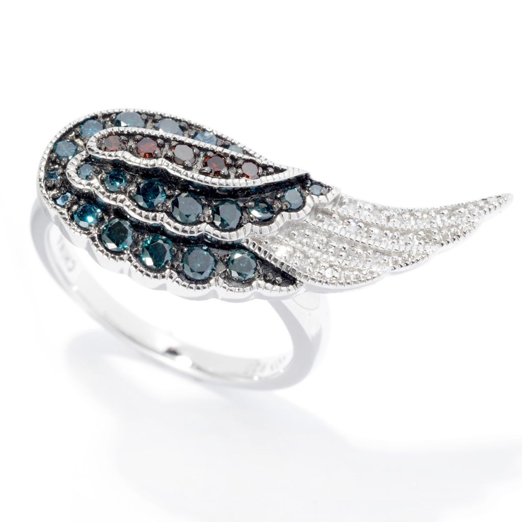 140-637 - Diamond Treasures Sterling Silver 0.50ctw Fancy Color Diamond Wing Ring