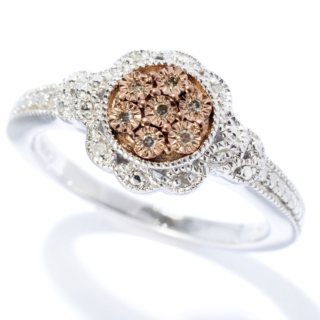 140-638 - Diamond Treasures Sterling Silver 0.05ctw Fancy Color Diamond Circle Pave Ring