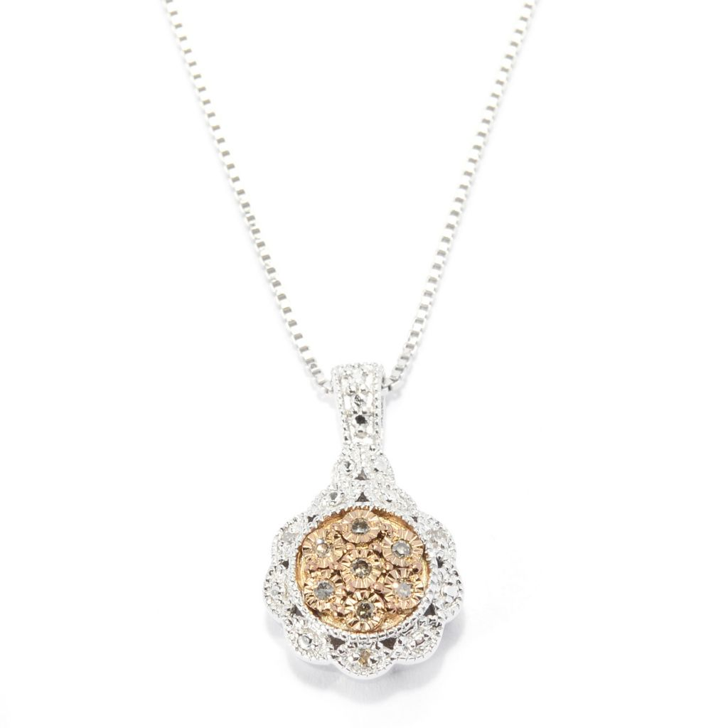 140-641 - Diamond Treasures Sterling Silver 0.04ctw Fancy Color Diamond Circle Pendant