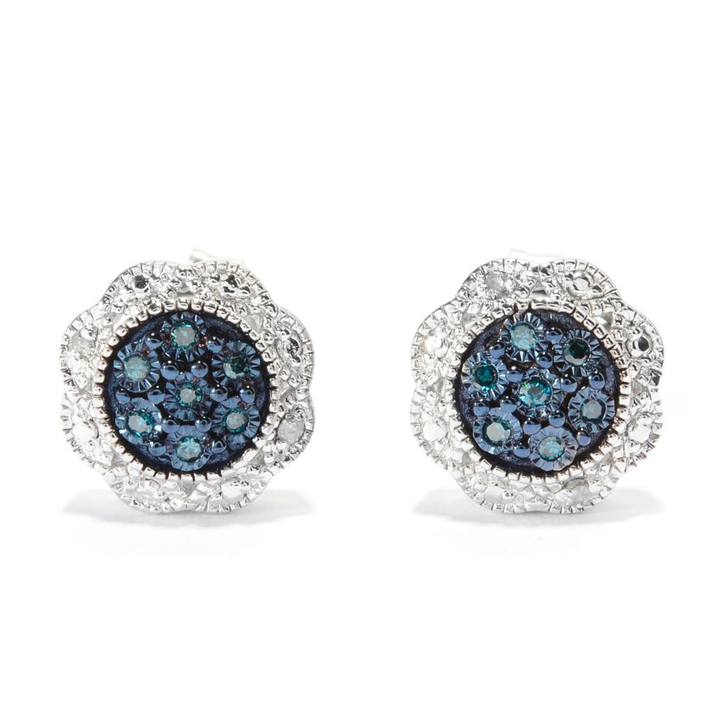 140-644 - Diamond Treasures Sterling Silver 0.08ctw Fancy Color Diamond Stud Earrings