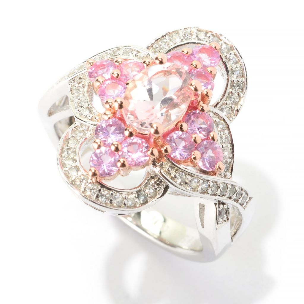 140-653 - NYC II 3.16ctw Oval Morganite, Pink Sapphire & White Zircon Ring