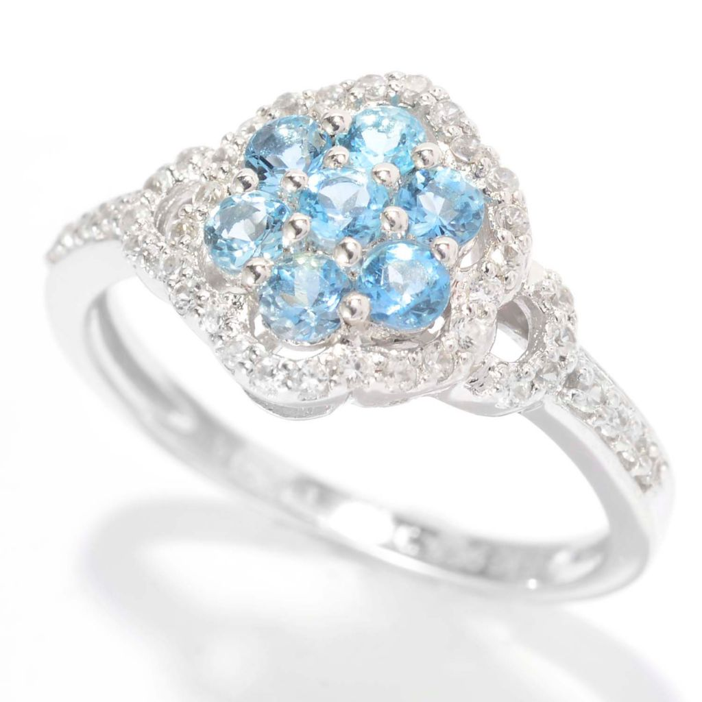 140-654 - NYC II Round Aquamarine & White Zircon Flower Ring