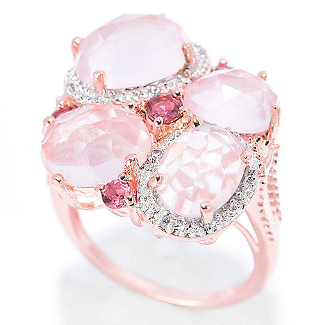 140-655 - NYC II Checkerboard Cut Rose Quartz, Pink Tourmaline & White Zircon Ring