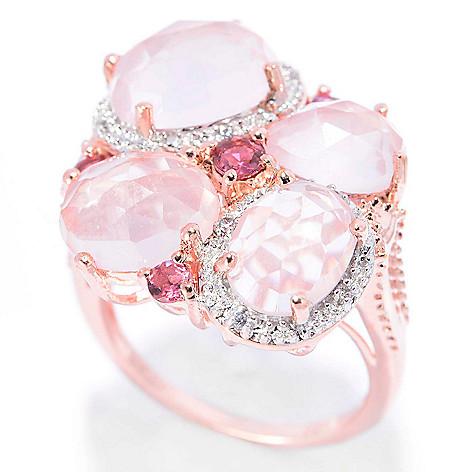 140-655 - NYC II™ Checkerboard Cut Rose Quartz, Pink Tourmaline & White Zircon Ring
