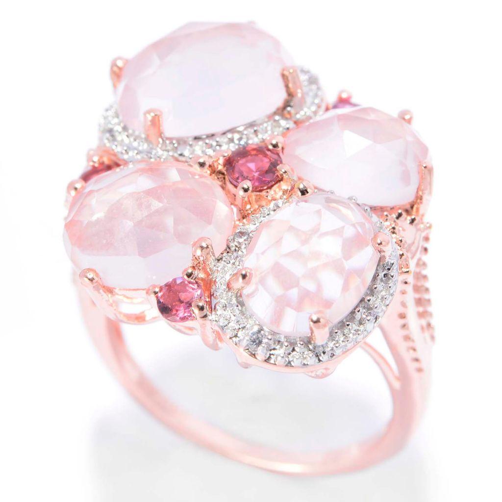 140-655 - NYC II Checkerboard Cut Rose Quartz, Pink Tourmaline & White Zircon Ring