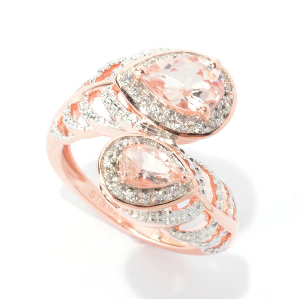 140-656 - NYC II 1.40ctw Morganite & White Zircon Feather Bypass Ring