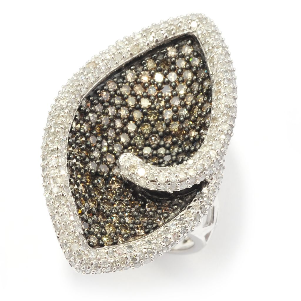 140-658 - Diamond Treasures Sterling Silver 2.38ctw White & Champagne Diamond Marquise Ring