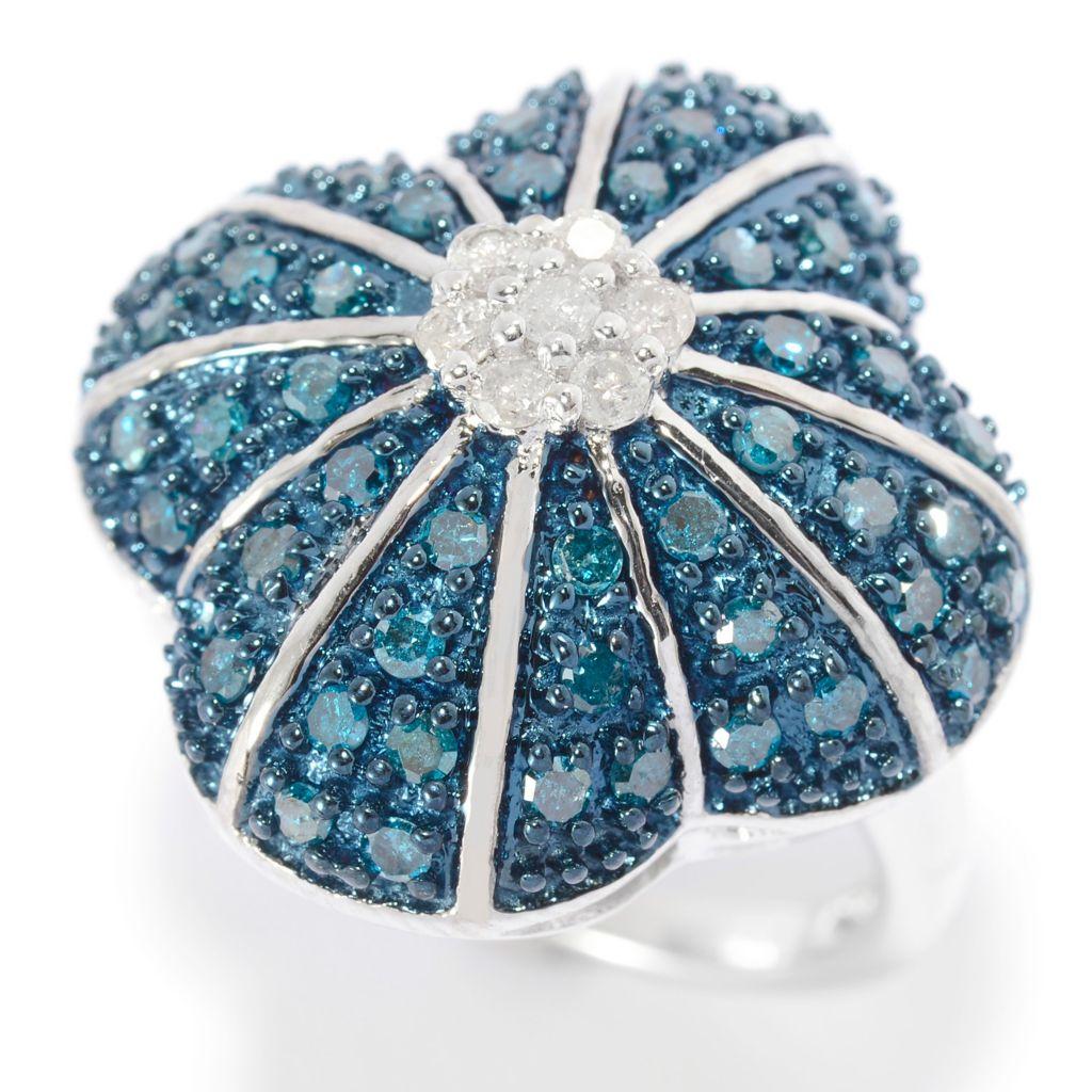 140-663 - Diamond Treasures Sterling Silver 0.96ctw Blue & White Diamond Flower Ring