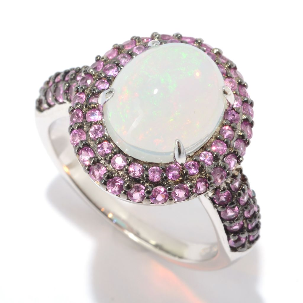 140-666 - Gem Treasures Sterling Silver 11 x 9mm Ethiopian Opal & Pink Sapphire Halo Ring