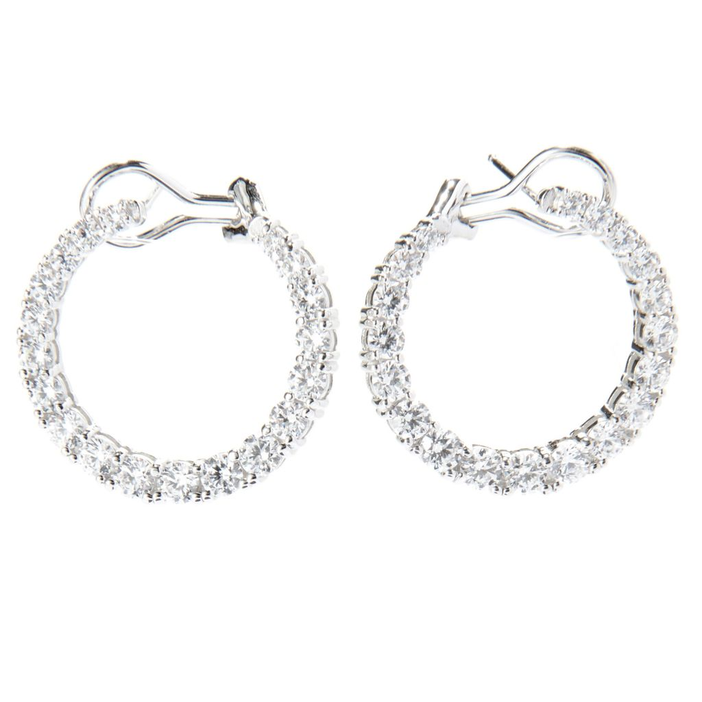 140-668 - Brilliante® Platinum Embraced™ 4.04 DEW Simulated Diamond Earrings w/ Omega Backs