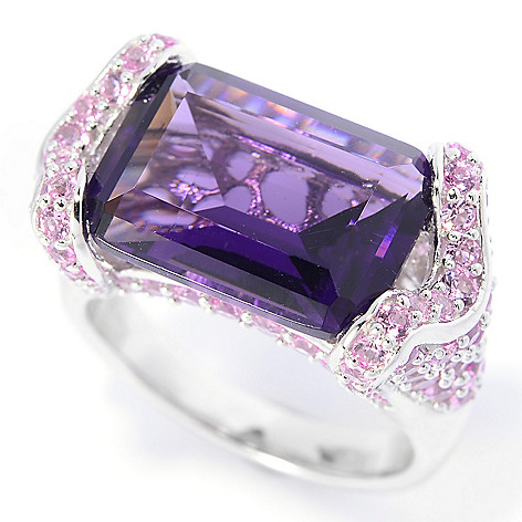 140-669 - Brilliante® Platinum Embraced™ 14 x 10 Octagonal Simulated Gemstone East-West Ring