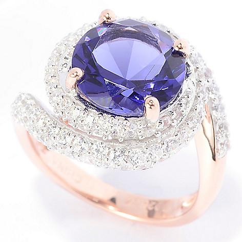 140-670 - Brilliante® 18K Rose Gold Embraced™ Simulated Gem & Simulated Diamond Swirl Ring