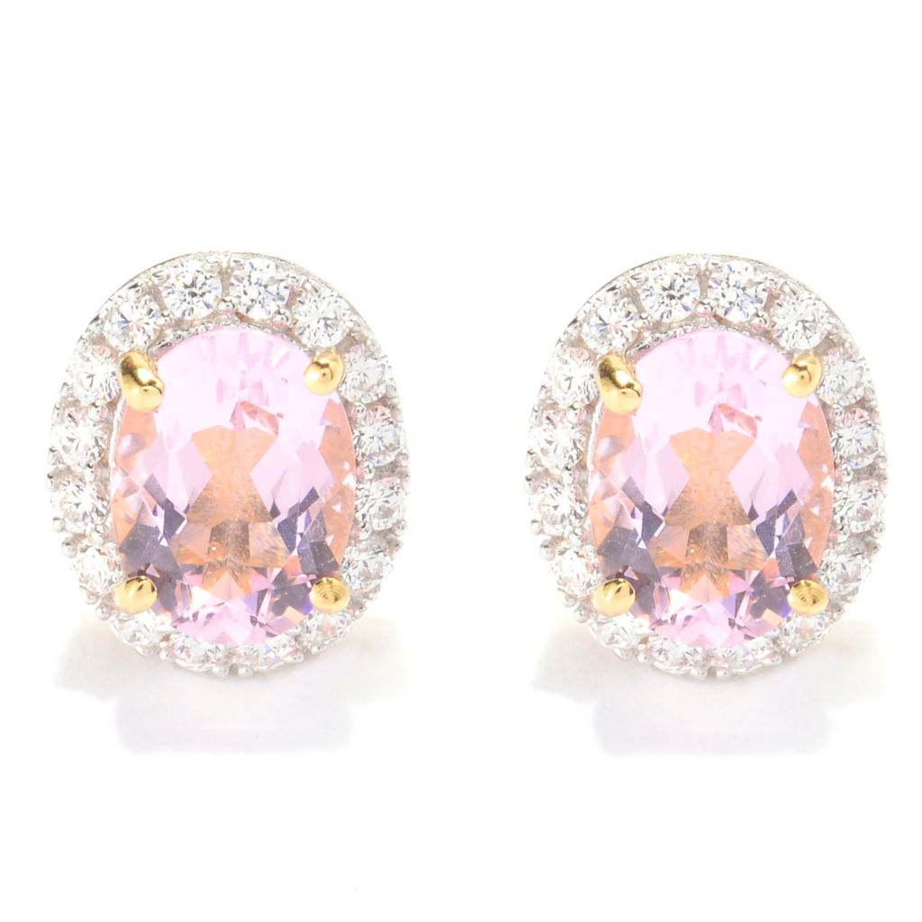 140-671 - Brilliante® 8 x 6mm Oval Simulated Kunzite Simulated Diamond Halo Stud Earrings