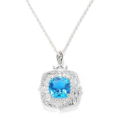 140-675 - Brilliante® Cushion Shaped Simulated Gem & Simulated Diamond Pendant w/ Chain