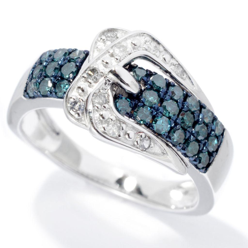 140-679 - Diamond Treasures Sterling Silver 0.45ctw Fancy Color Diamond Buckle Ring