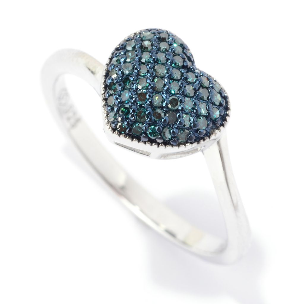 140-680 - Diamond Treasures Sterling Silver 0.20ctw Fancy Color Diamond Heart Shaped Ring