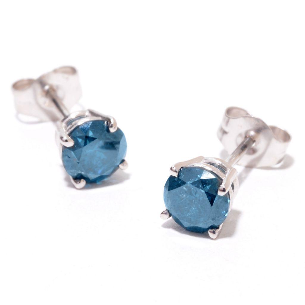 140-681 - Diamond Treasures 14K White Gold 1.00ctw Round Blue Diamond Stud Earrings