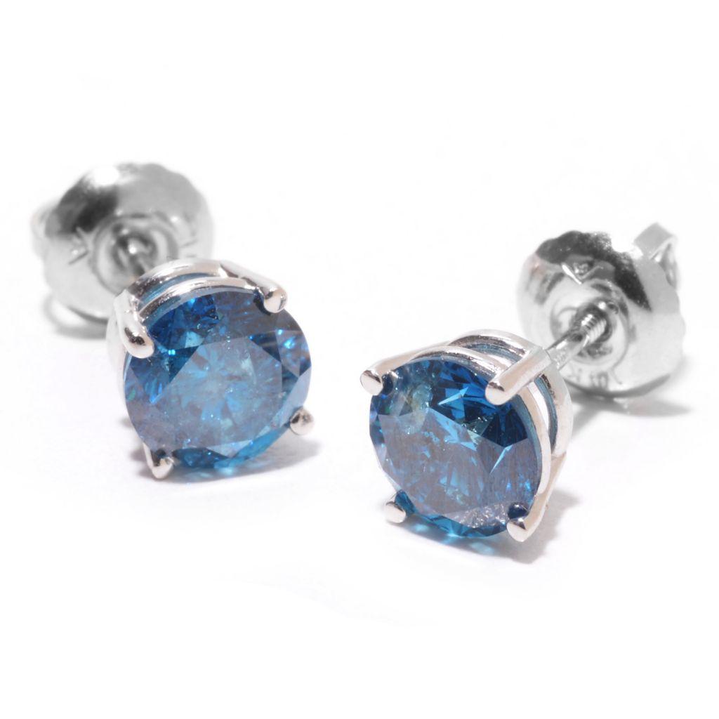 140-682 - Diamond Treasures 14K White Gold 1.50ctw Round Blue Diamond Stud Earrings