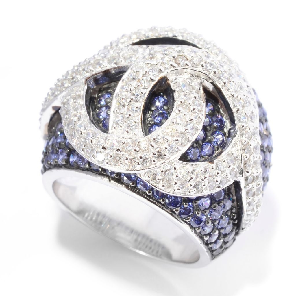 140-683 - Brilliante® Platinum Embraced™ 4.01 DEW Multi Simulated Diamond Overlay Ring