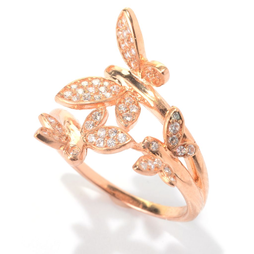 140-685 - Brilliante® 18K Rose Gold Embraced™ Simulated Diamond Butterfly Bypass Ring