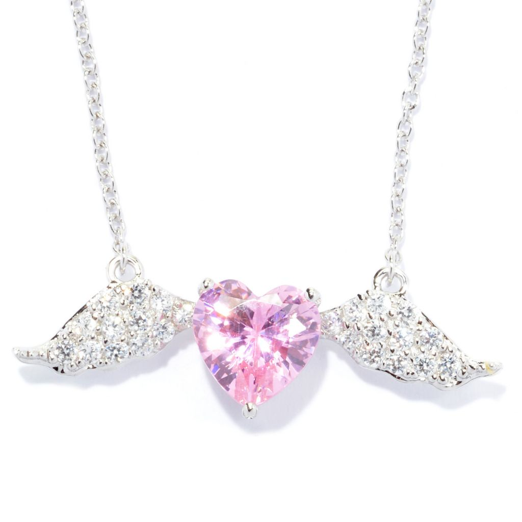 140-686 - Brilliante® Platinum Embraced™ 3.45 DEW Pink & White Simulated Diamond Heart Wing Pendant