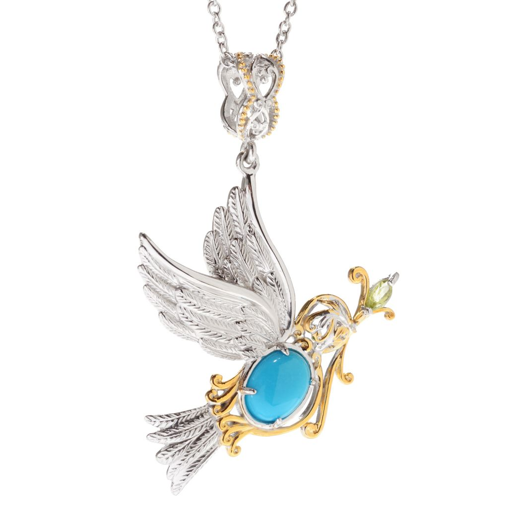 140-689 - Gems en Vogue Sleeping Beauty Turquoise & Peridot Dove Pendant w/ Chain